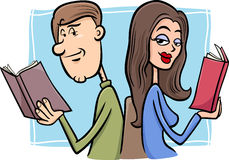 Couple in love cartoon illustration. Cartoon Illustration of Young Couple in Love at First Sight Stock Photography