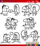 Couple in love cartoons coloring page Royalty Free Stock Photo