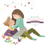 Couple in love celebrating Valentines Day. Vector romantic greeting card Royalty Free Stock Photography