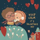 Cartoon couple in love celebrating Valentines Day royalty free illustration