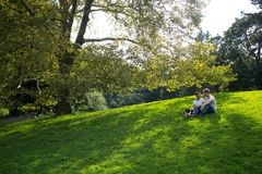 Couple in Love in Central Park royalty free stock photo