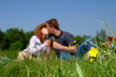 Couple love champagne. Young handsome couple in love with champagne against blue sky. Focus on front right flower Royalty Free Stock Photo