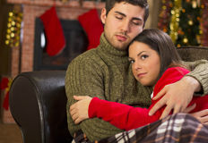 Couple in love on Christmas night Royalty Free Stock Photography