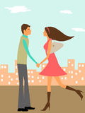 Couple in Love in the City. Couple in Love Holding Hands in the City Illustration Stock Image