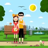 Couple in Love in City Park. Young Couple in Love in City Park stock illustration