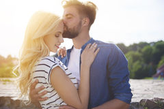 Couple in love at the city Stock Photos