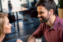 Couple in love on coffee break in restaurant Stock Images