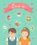 Couple in love. Conceptual vector flat illustration of a boy and a girl in love with dating symbols. Love infographics Royalty Free Stock Image