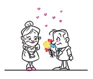 Couple in love confession cartoon illustration Stock Images