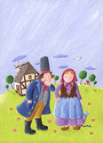 Couple in love on a countryside royalty free illustration