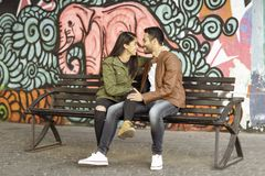 Couple in love. Enjoying happy in public park stock photography
