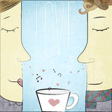 Couple in Love with cup of notes and hearts Royalty Free Stock Photography
