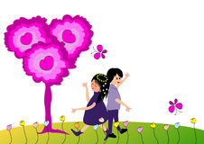Couple in love dancing. On a meadow stock illustration
