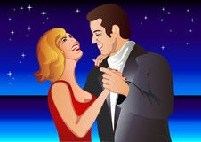 Couple in love dancing in the night Royalty Free Stock Photo