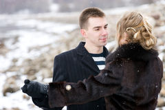 Couple in love dancing outdoors Royalty Free Stock Image