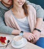 Couple in love on a date in cafe in Valentines day Royalty Free Stock Photography