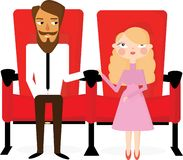 A pair of lovers in the cinema royalty free illustration