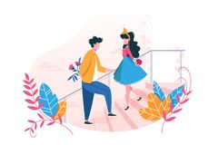 Couple in love on date. Concept Valentine s Day. Young man gives flowers to girl and girl gives her heart. Vector illustration royalty free illustration