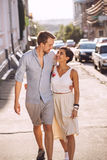 Couple in love dating in city. At sunny day Royalty Free Stock Image