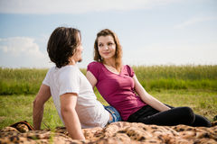 Couple in love dating outdoor Stock Photography