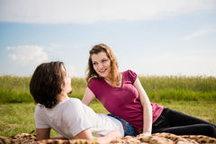 Couple in love dating outdoor Stock Photos