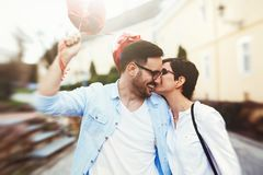 Couple in love dating and smiling outdoor Royalty Free Stock Images