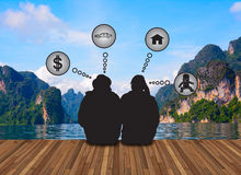 Couple love dream about future on landsce backgrouapnd Royalty Free Stock Photo