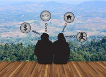Couple love dream about future on landsce backgrouapnd Royalty Free Stock Photos