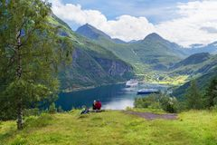Couple in love dreams of a cruise in Norway Royalty Free Stock Image