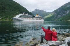 Couple in love dreams of a cruise in Norway Stock Photography