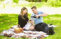 Couple in love drinking red wine on picnic at park Royalty Free Stock Photos
