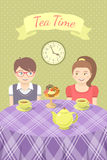 Couple in love drinking tea stock illustration