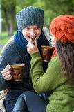 Couple in love drinks coffee Stock Image