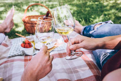 Couple in love drinks a white wine on summer picnic Royalty Free Stock Photo