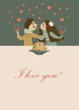 Couple in love eating spaghetti. Vector romantic card Royalty Free Illustration