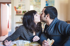 Couple in love eatingin lunch Royalty Free Stock Photos