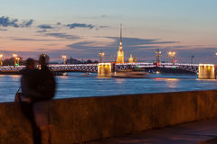 Couple in love on the embankment in Saint-Petersburg Royalty Free Stock Photo