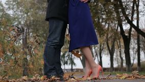 Couple in love embracing in autumnal park. Low section of young couple in love meeting, holding hands and embracing during romantic date over autumn natural stock video footage