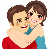 Couple Love Embracing. Cute young happy couple in love embracing royalty free illustration