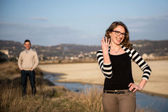Couple in love on engagement day in natural park. Stock Images