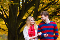 Couple in love enjoy romantic date in park. Royalty Free Stock Image