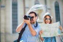Couple in love enjoying city sightseeing royalty free stock photo