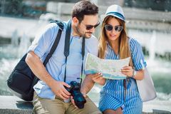 Couple in love enjoying city sightseeing stock photography