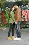 Couple in love. Enjoying happy in public park stock image