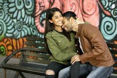 Couple in love. Enjoying happy in public park stock photos
