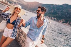Couple in love, enjoying the summer time royalty free stock image