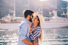 Couple in love, enjoying the summer time stock images