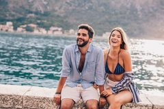 Couple in love, enjoying the summer time stock image