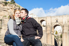 Couple in love enjoying sunny autumn day in Ronda Royalty Free Stock Photography