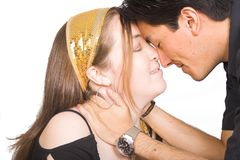 Couple in love with eyes closed Stock Images